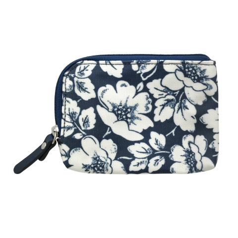 SINGLE ZIP AROUND CARD PURSE DIDWORTH FLOWERS NAVY