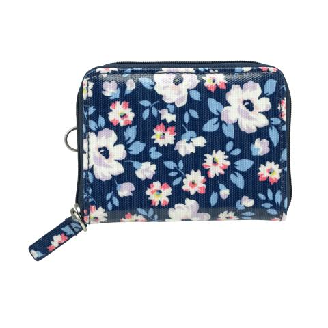 ZIPPED TRAVEL PURSE  ISLAND FLOWERS NAVY