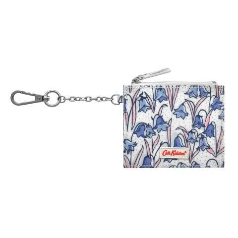SIDE PLEAT PURSE WITH KEY CHAIN BLUEBELLS CREAM BLUE