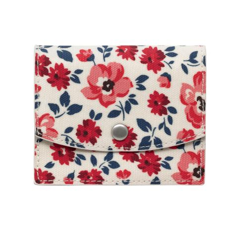 CONCERTINA FOLD OVER CARD WALLET ISLAND FLOWERS VANILLA BLUE
