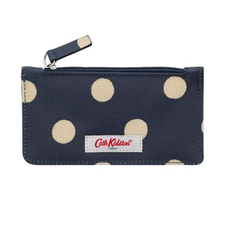 LONG CARD HOLDER ZIP PURSE BUTTON SPOT NAVY