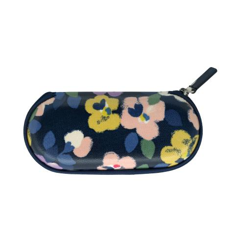 ZIP AROUND GLASSES CASE LARGE PAINTED PANSIES NAVY