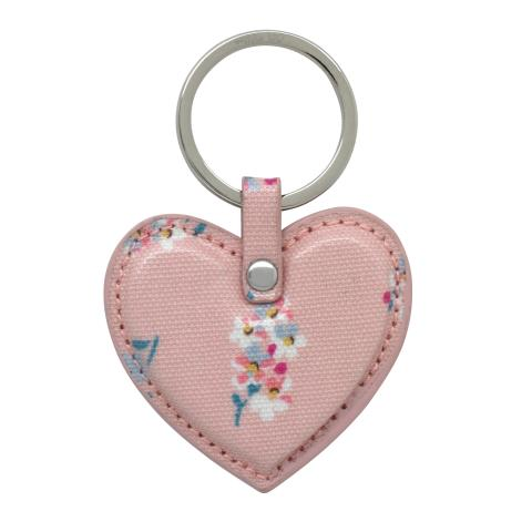 HEART KEY FOB O/C WOODSTOCK DITSY WARM PINK