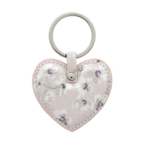 HEART KEY FOB WELLESLEY DITSY BLUSH PINK