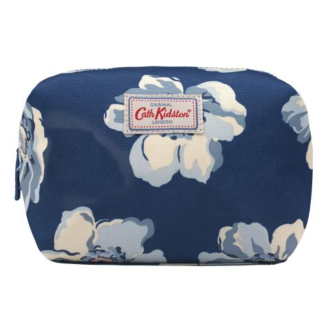 TRAVEL COSMETIC BAG SCATTERED ANEMONE NAVY