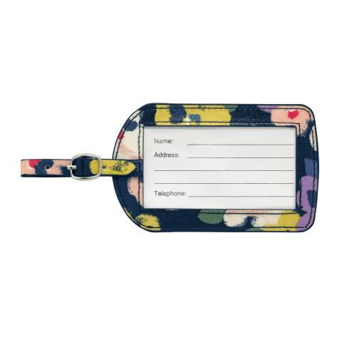 LUGGAGE TAG O/C LARGE PAINTED PANSIES NAVY