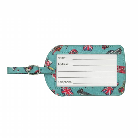 LUGGAGE TAG O/C LONDON STAMPS BRIGHT TEAL