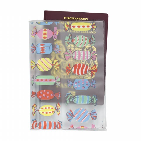 PVC PASSPORT HOLDER SWEETS CLEAR