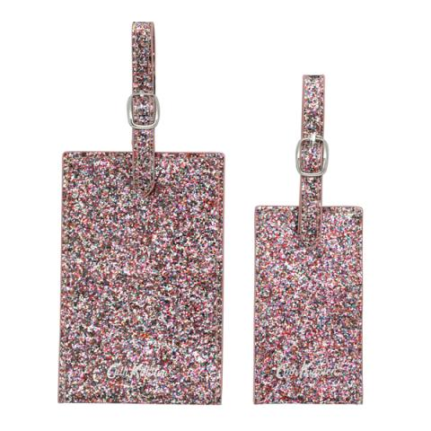 SET OF 2 LUGGAGE TAGS GLITTER PAINTED GLITTER