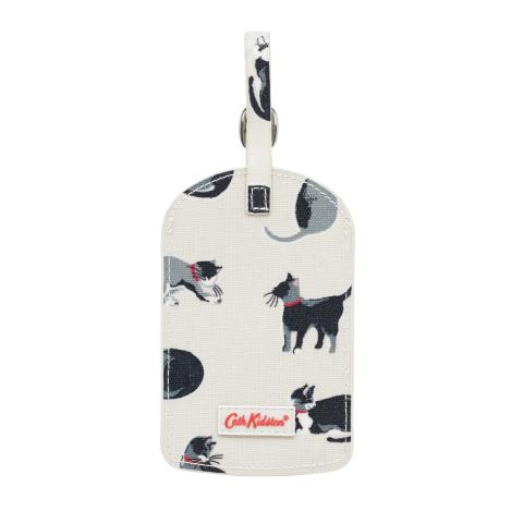 LUGGAGE TAG SMALL PAINTED CATS CREAM