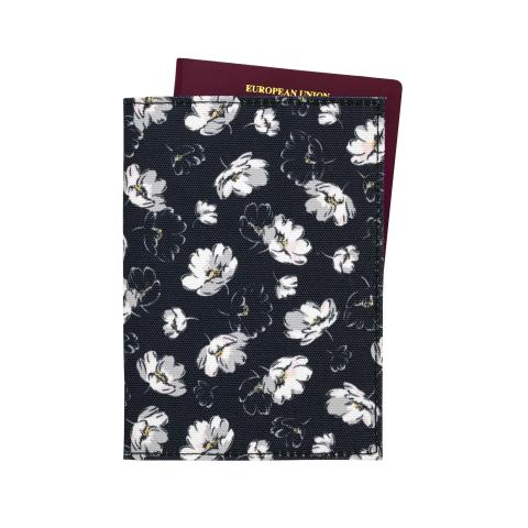 POLYESTER PASSPORT HOLDER FALLING COSMOS SOFT BLACK