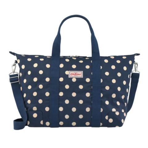 FOLDAWAY OVERNIGHT BAG BUTTON SPOT NAVY