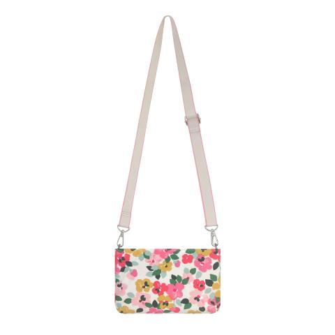SAMLL ZIPPED CROSSBODY LARGE PAINTED PANSIES