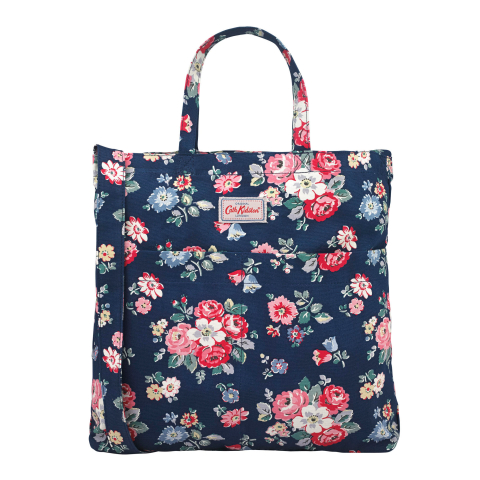 DOUBLE HANDLE COTTON BAG FOREST BUNCH NAVY