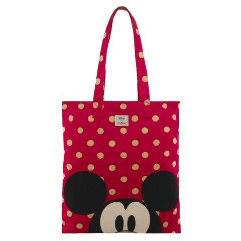DISNEY COTTON BOOK BAG BUTTON SPOT RED