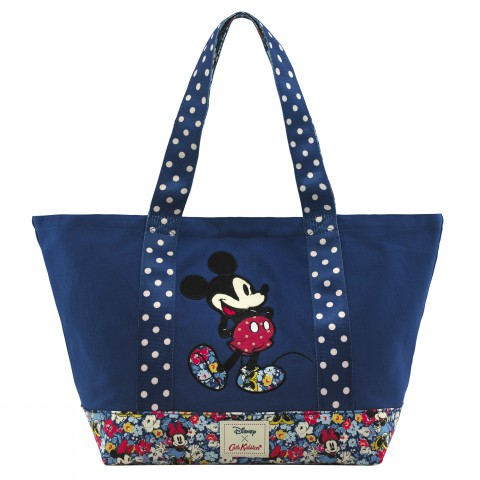 DISNEY COLOUR BLOCK CANVAS TOTE MINNIE MEWS DITSY BLUE