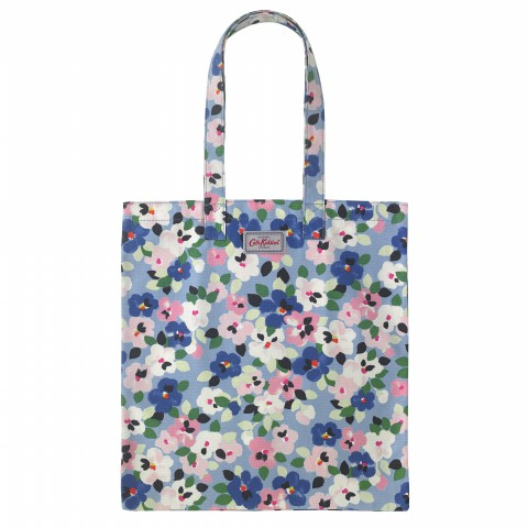 BOOK BAG COTTON LARGE PAINTED PANSIES GREY BLUE