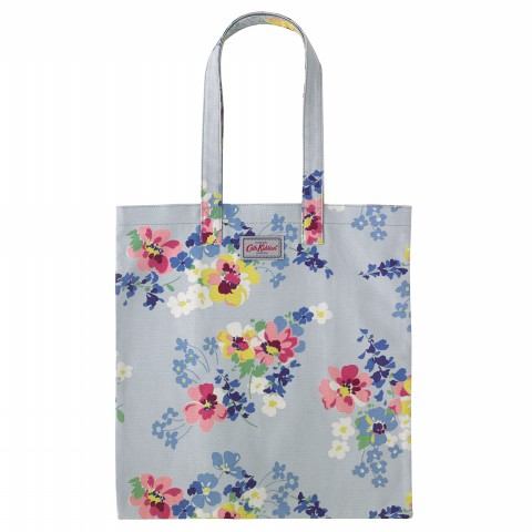 BOOK BAG COTTON PAINTED POSY COOL BLUE
