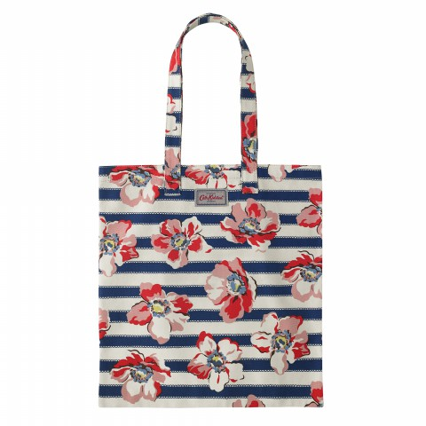 BOOK BAG COTTON LARGE ANEMONE STRIPE NAVY