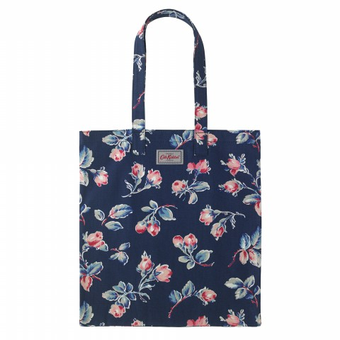 BOOK BAG COTTON ROSEBUD SPRIG NAVY