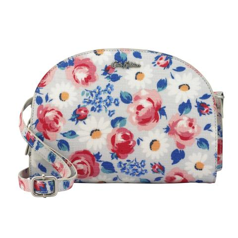 CRESCENT CROSSBODY DAISIES & ROSES COOL BLUE