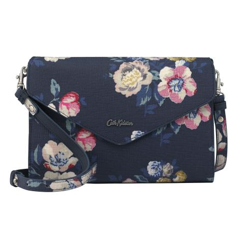 EMBOSSED OCCASION CLUTCH WINDFLOWER BUNCH NAVY