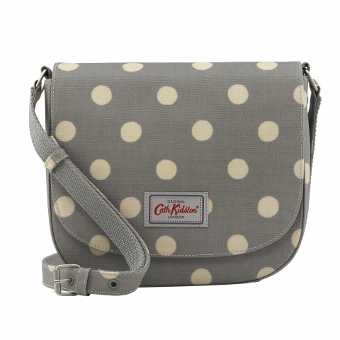 CURVED SADDLE BAG BUTTON SPOT GREY