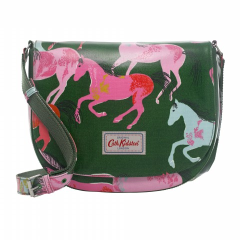 LARGE CURVED SADDLE BAG PAINTED HORSES GREEN