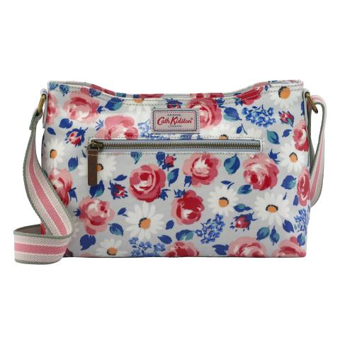 ZIPPED CROSS BODY DAISIES & ROSES COOL BLUE