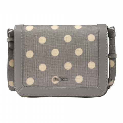 EMBOSSED SMALL LUCKY BAG BUTTON SPOT GREY