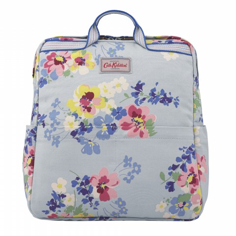 ZIPPED COTTON BACKPACK PAINTED POSY COOL BLUE