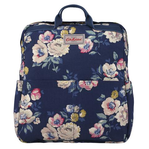ZIPPED COTTON BACKPACK WINDFLOWER BUNCH NAVY