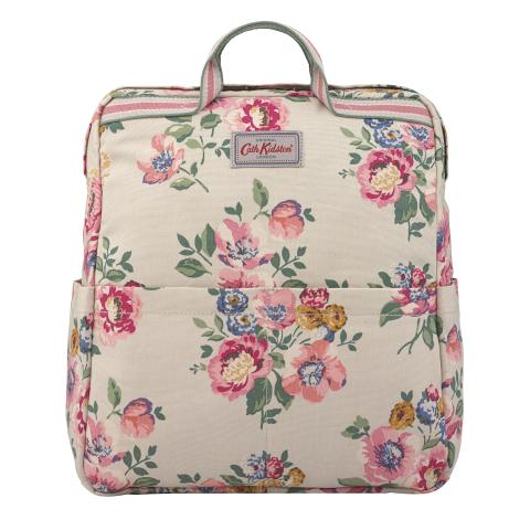 ZIPPED COTTON BACKPACK WINDFLOWER BUNCH STONE