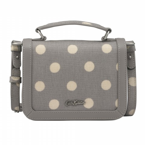 TINY EMBOSSED LUCKY BAG W/HANDLE BUTTON SPOT GREY