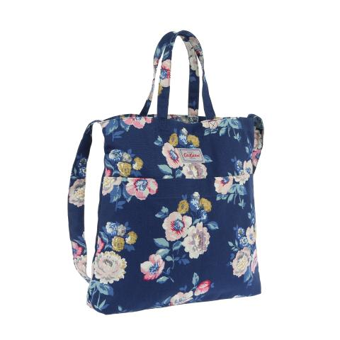 DOUBLE HANDLE COTTON BAG WINDFLOWER BUNCH NAVY