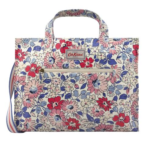 OPEN CARRYALL W/STRAP LARGE WELHAM FLOWERS STONE MULTI