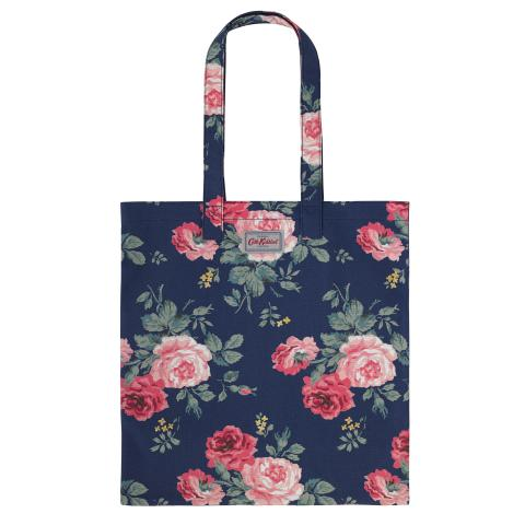 BOOK BAG COTTON ANTIQUE ROSE NAVY