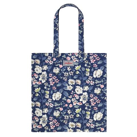 BOOK BAG COTTON PRESSED FLOWERS NAVY