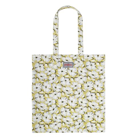 BOOK BAG COTTON STAMP FLORAL YELLOW