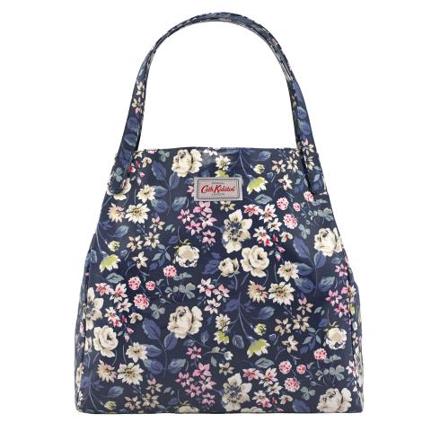 SHOULDER TOTE O/C PRESSED FLOWERS NAVY