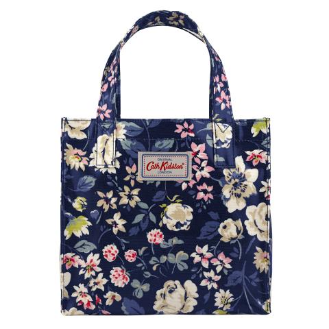 SMALL BOOKBAG O/C PRESSED FLOWERS NAVY