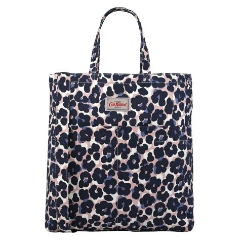 DOUBLE HANDLE COTTON BAG LEOPARD FLOWER PLASTER PINK NAVY