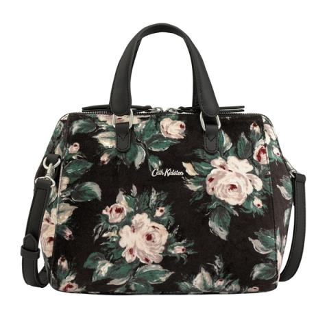SMART VELVET HANDBAG SMALL DEVONSHIRE ROSE CHARCOAL