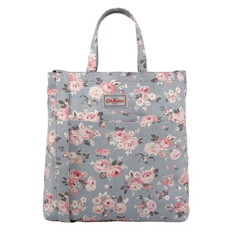 DOUBLE HANDLE COTTON BAG WELLS ROSE SLATE BLUE