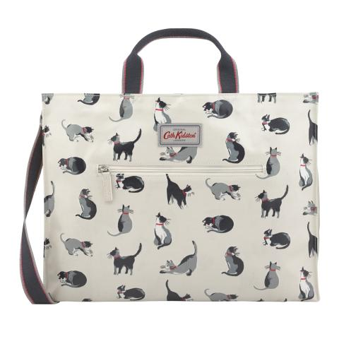 STRAPPY CARRYALL PAINTED CATS CREAM