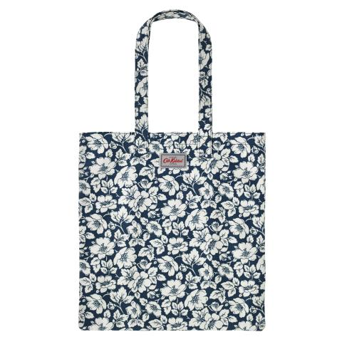 COTTON BOOKBAG DIDWORTH FLOWERS NAVY