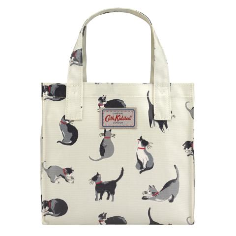 SMALL BOOKBAG O/C PAINTED CATS CREAM