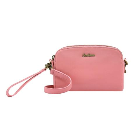 LEATHER MINI DOUBLE ZIP BAG VINTAGE PINK