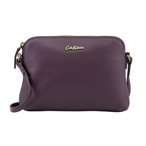 LEATHER SLIM CROSS BODY PLUM