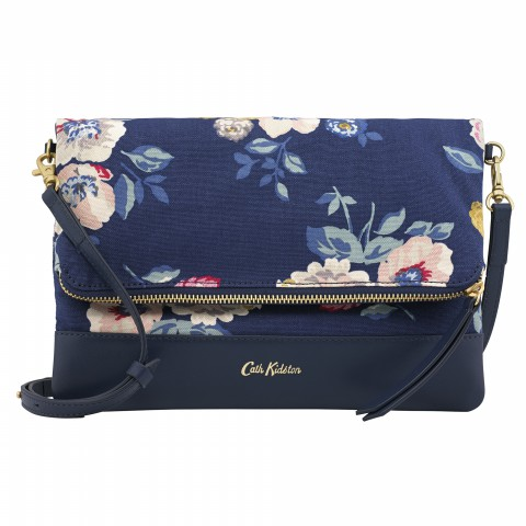 LEATHER FOLDOVER CLUTCH NAVY